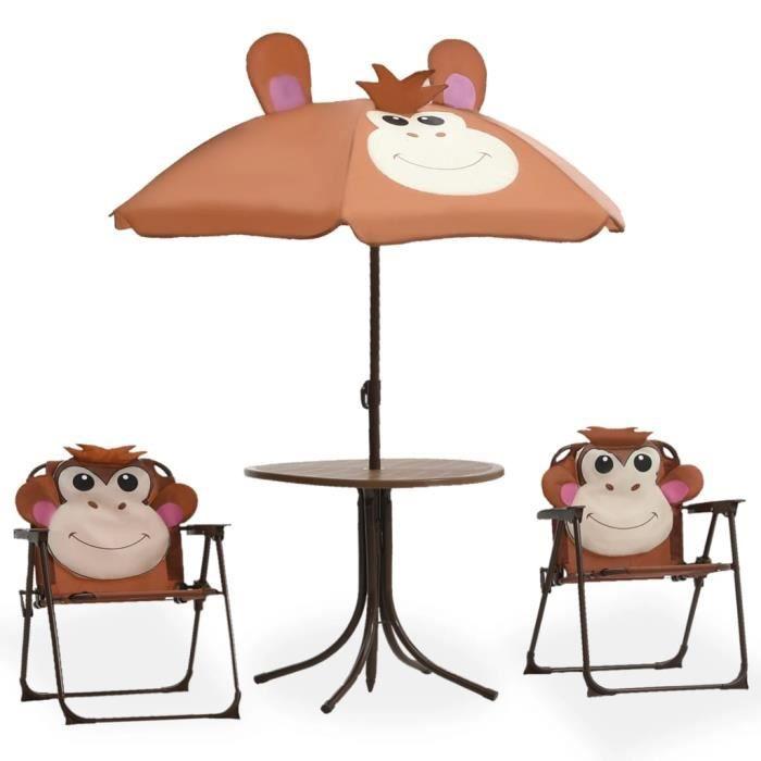 ��7841Jeu de Bistro Balcon - 1 table+2 chaise + 1 parasol - Salon de Jardin Terrasse - pour enfants 3 pcs - Marron