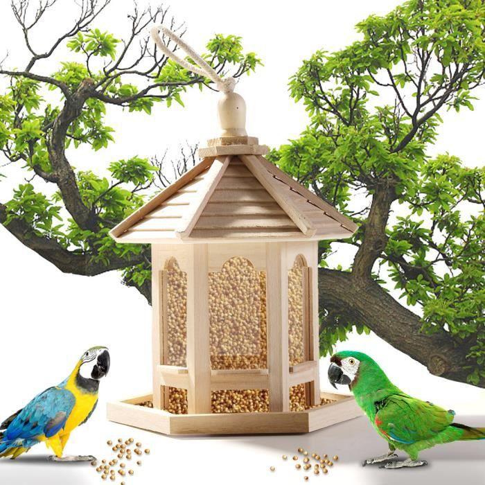 Mangeoire à oiseaux en bois suspendue pour hexagone de décoration de jardin en forme avec toit ouniondo 855
