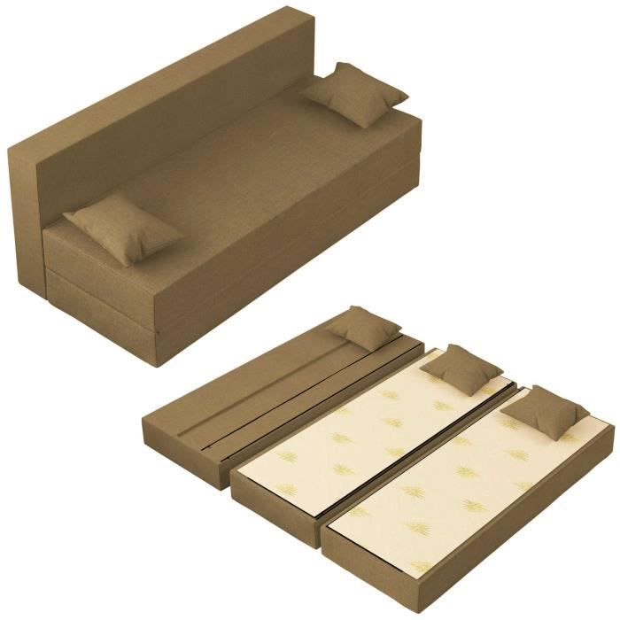 Canapé Lit TreTris Convertible Modulable Réversible 3 places - Tissu dehoussable et lavable Couleur Or