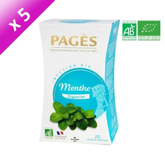 PAGES Lot de 5 Infusions Menthe Bio