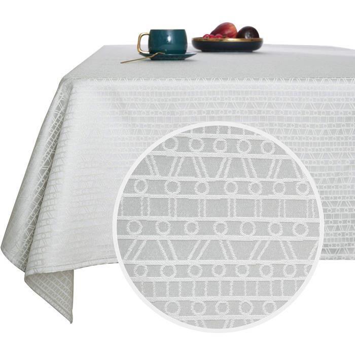 Deconovo Nappe de Table Rectangulaire Imperméable à Motif Gris Clair 132x229 cm Nappe Table Salle à Manger Nappe Exterieur