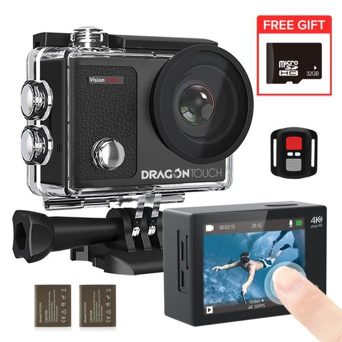 Dragon Touch Caméra Sport 4K Ultra HD Wi-FI 20 MP & Télécommande Stabilisateur EIS Étanche 30M 170°Grand-Angle 2- LCD -Vision 4 Lite