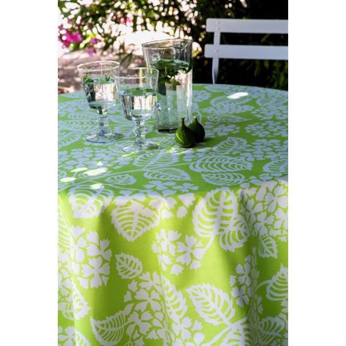 Nappe coton enduit Hortensia vert 160x160 - Fleur de Soleil