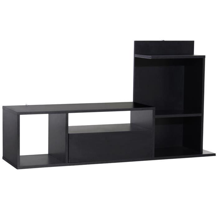 Meuble TV design contemporain multi-rangements grand plateau 3 niches 2 étagères tiroir mélaminé noir mat 120x67x30cm Noir