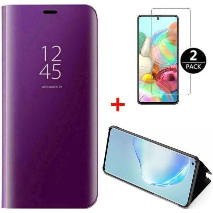 Coque Xiaomi Mi 10T Pro+[2 Pack] Verre trempé Déverrouillage d'empreintes digitales,Miroir Flip Case Housse Étui pour Xiaomi 10T Pro