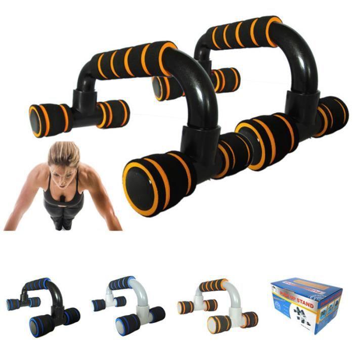 Poignées de Support Barres de Push Up Antiglissante pour Musculation des Bras, Épaules, Dos, Poitrine,Triceps ( 1 paire) Orange