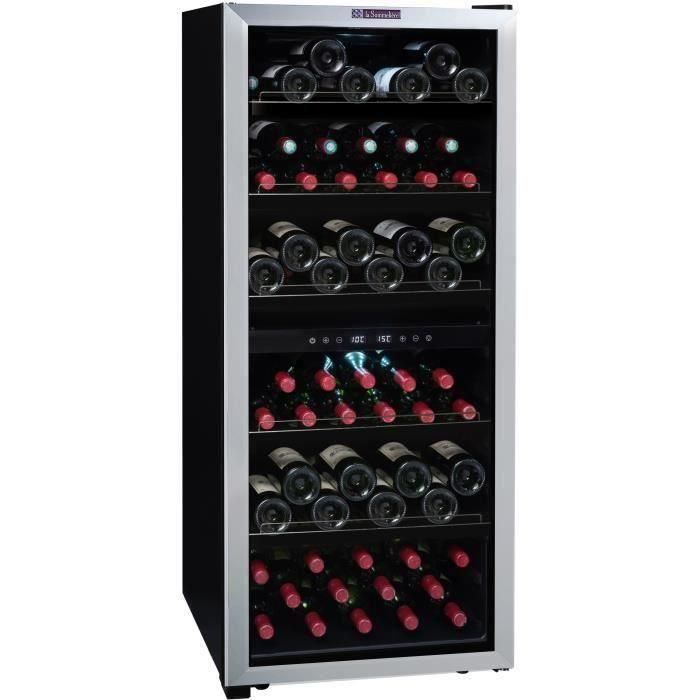LA SOMMELIERE LS98.2Z - Cave à vin de Service double zone - 98 bouteilles (54 + 44) - Pose libre - C - Porte Vitrée - L 55 x H 127