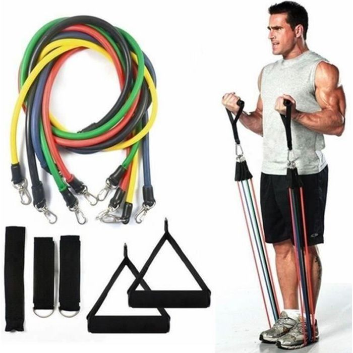 MERKMAK® set bande elastique fitness musculation 11 sport de resistance traction large cheville pied kit sangle Elastiband exercice