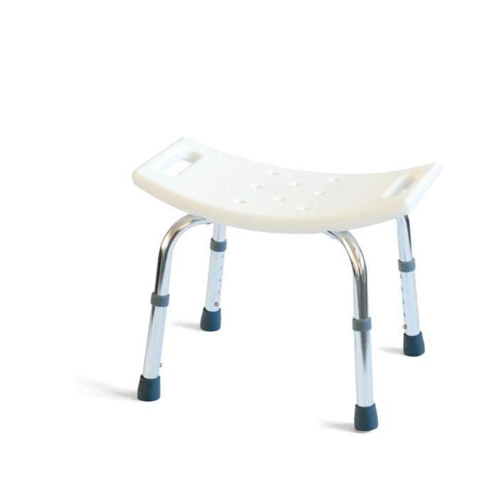 MILL'O SANTE Tabouret de douche avec poignées - Plastique ABS et Aluminium léger - Blanc - 1,65 kg