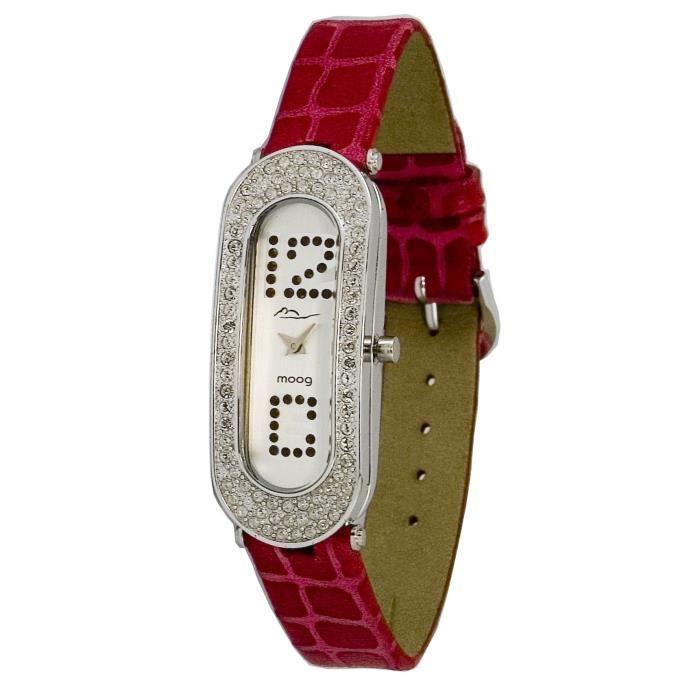 Montre Femme Moog Paris Discrete avec Cadran Argenté, Eléments Swarovski, Bracelet Fuschia en Cuir Véritable - M44042F-004