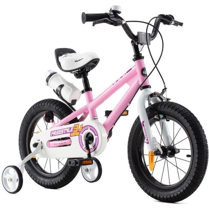 RoyalBaby Vélo Enfant Garçon Fille Freestyle BMX 12- 14- 16- 18- 20- Vélo Bicyclette VELO ENFANT 16 Pouces Rose