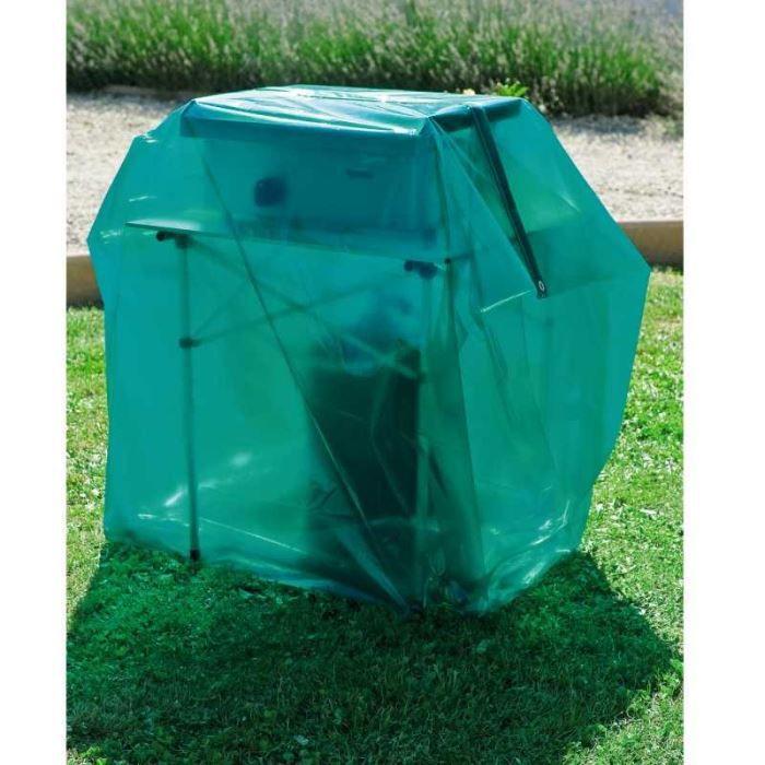 Housse luxe barbecue ou plancha 150 cm Film polyéthylène 100 microns, vert translucide, Dimensions : L. 170 x P. 70 x H.150 cm.