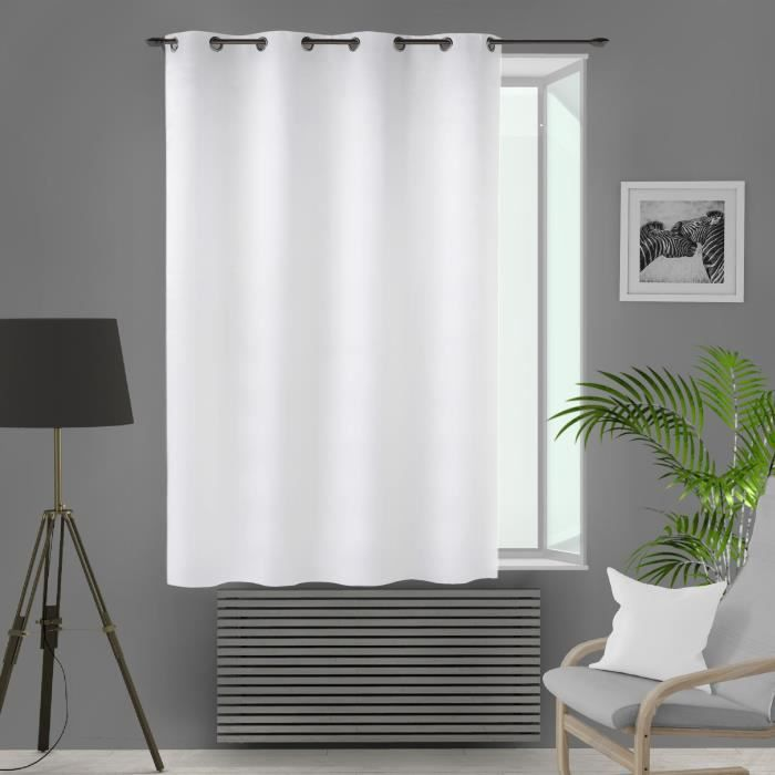 SOLEIL D'OCRE Rideau isolant et occultant à oeillets - 140 x 180 cm - Blanc