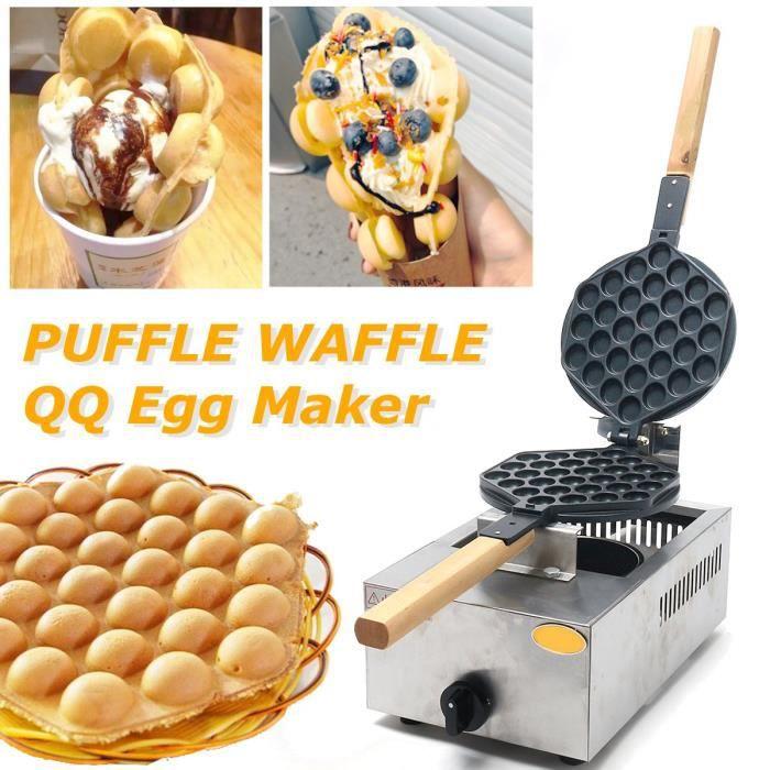 TEMPSA  Machine à Gaufre DIY Antiadhésive Crêpe Oeuf Moule Cuisson Pan Cake Bubble Gaufre Maker Cuisine  1100W
