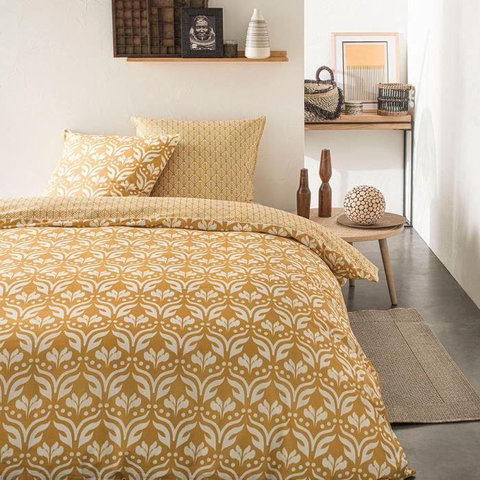 TODAY Parure de lit SUNSHINE 5.1 - 2 personnes - 220 x 240 cm coton - Imprimé Jaune Ethnique TODAY