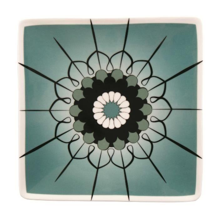 Lot de 6 assiettes carrées arabesque en porcelaine - 26 cm