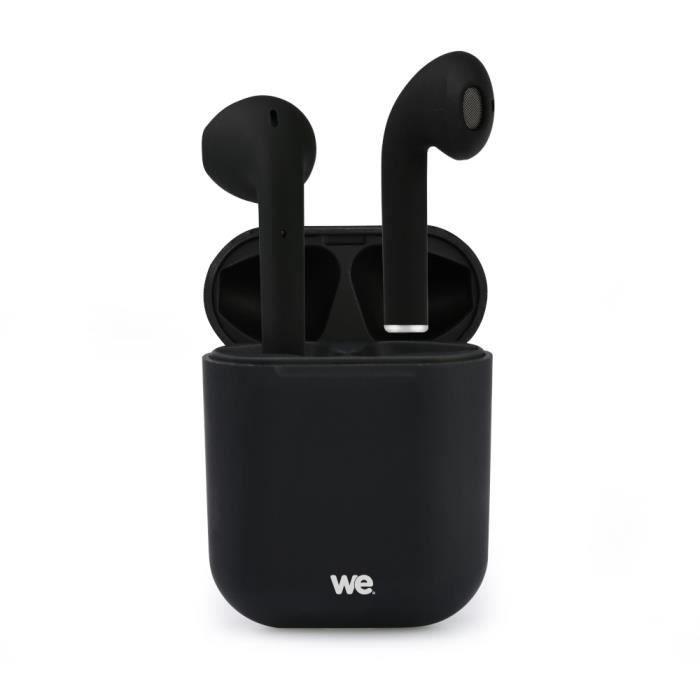 WE Ecouteurs Bluetooth 5.0 - Léger sans Fil - Microphone intégré Boitier de Recharge de 300 mAh Contrôle Tactile - Noir