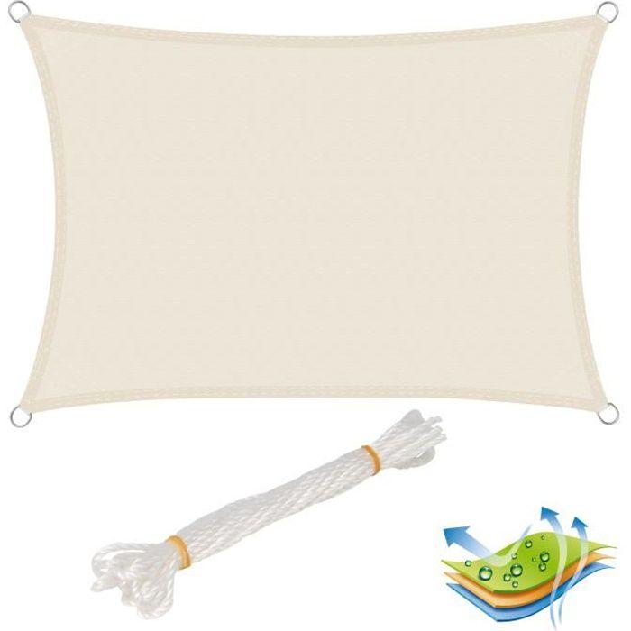 WOLTU Voile d'ombrage rectangulaire en polyester, protection contre le soleil avec protection UV pour jardin ou camping,4x5 m, Crème