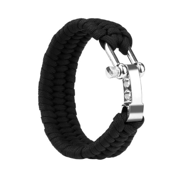 1*Bracelet en acier avec boucle en acier pour la randonnée en plein air Paracord