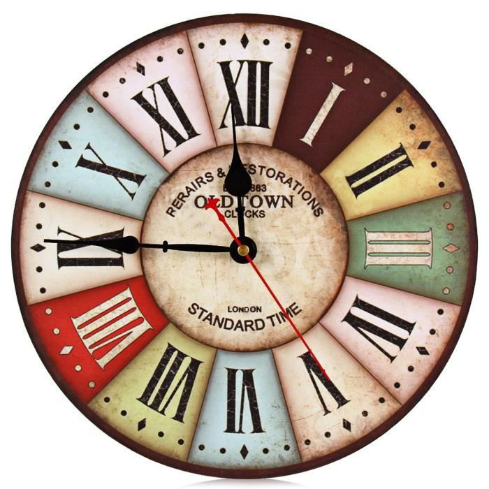 retro decorative horloge murale ronde en bois vintage achat vente horloge cdiscount. Black Bedroom Furniture Sets. Home Design Ideas