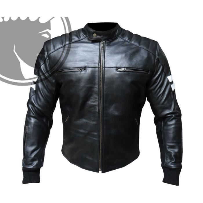 blouson moto homme cuir biker retro noir m achat vente. Black Bedroom Furniture Sets. Home Design Ideas