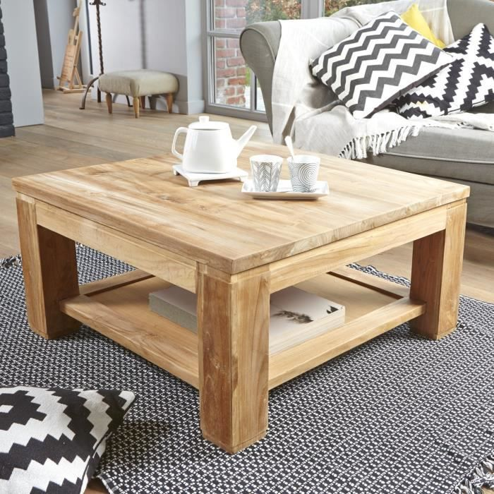 table basse carr e en teck brut qualite grade a achat vente table basse jardin table basse. Black Bedroom Furniture Sets. Home Design Ideas