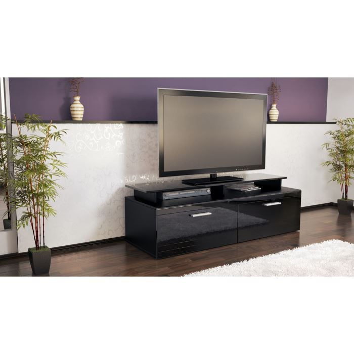 meuble t l laqu noir 140 cm achat vente meuble tv meuble t l laqu noir 140 soldes d. Black Bedroom Furniture Sets. Home Design Ideas