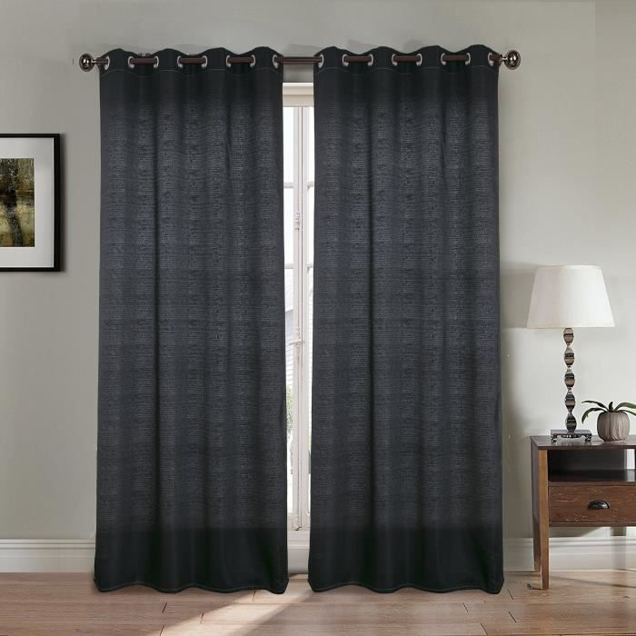 paire double rideaux 140x260 cm noir effet lin