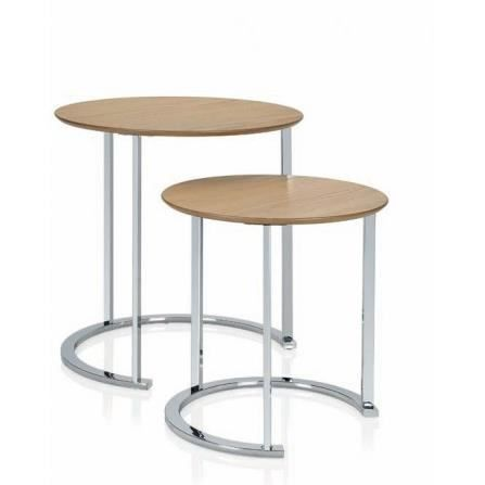 Set de 2 tables basse design rondes en bois et achat for Set de table en bois