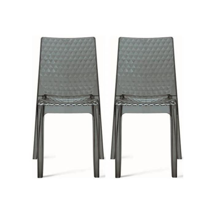 Lot de 2 chaises design transparentes grises delphine for Soldes chaises transparentes