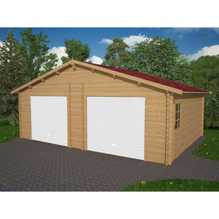 Garage double bois 36 97m 2 portes incluses achat vente garage garage do - Garage bois discount ...