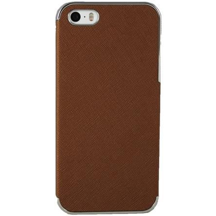 coque iphone 5 5s marron simili cuir
