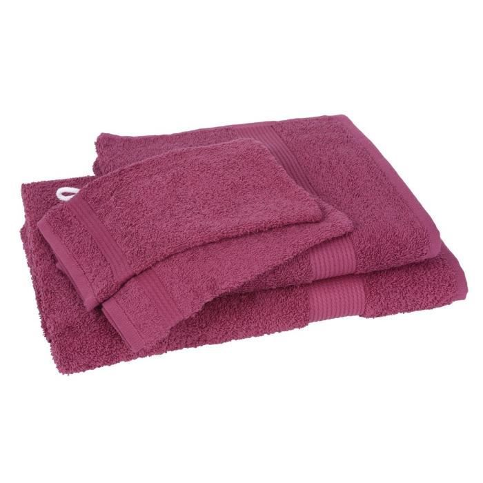 Lot de 1 drap de bain + 1 serviette + 2 gants FAIRTRADE bordeaux ...