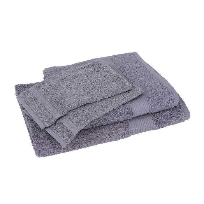 lot de 1 drap de bain 1 serviette 2 gants fairtrade gris achat vente serviettes de bain. Black Bedroom Furniture Sets. Home Design Ideas