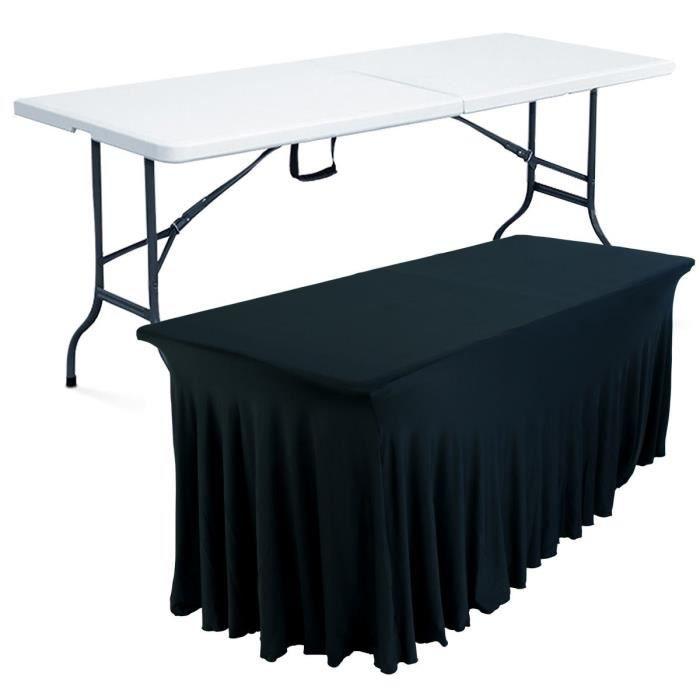 table pliante portable et nappe noire 180 cm achat vente table de jardin table pliante. Black Bedroom Furniture Sets. Home Design Ideas