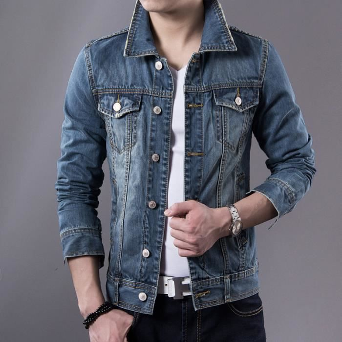blouson veste jean homme marque mode cor enne slim fit. Black Bedroom Furniture Sets. Home Design Ideas