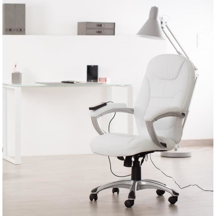 minister fauteuil de bureau massant blanc 4 points de massage achat vente chaise de bureau. Black Bedroom Furniture Sets. Home Design Ideas