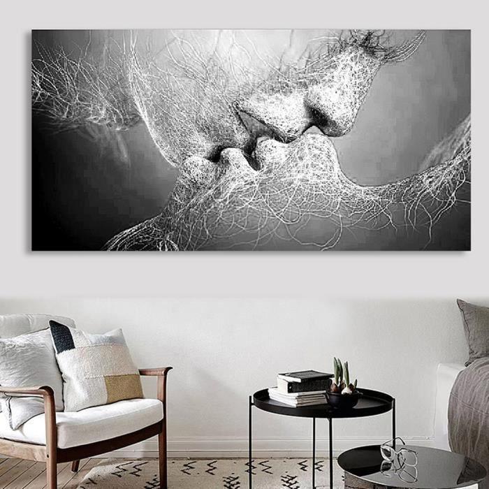 Tableau Peinture à Huile Toile Baiser D\'amour Noir Et Blanc Abstraite Décor  Murale 100X60cm