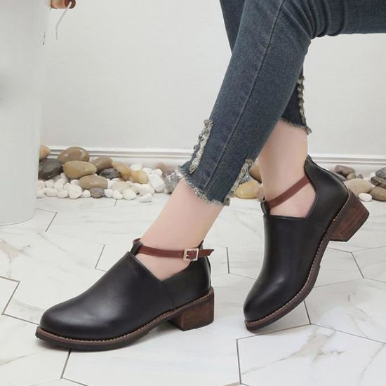 Talkwemot8198 Femmes Rond Chaussures Bout Mode Casual Classique Bottines Martin Bottes MGpSUzqLV