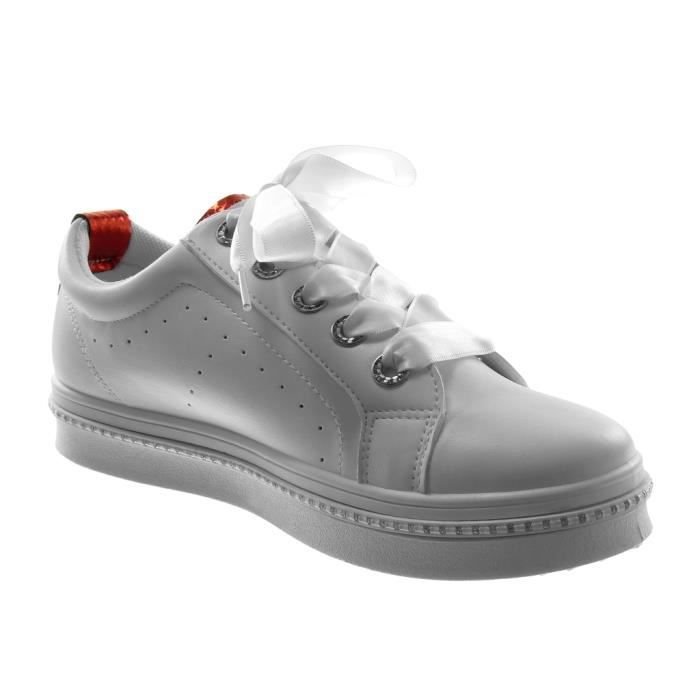 Angkorly - Chaussure Mode Baskets tennis femme Lacet ruban satin strass diamant perforée Talon plat 3 CM - Rouge - LE1707 T 38