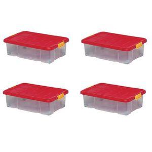 BAC DE RANGEMENT OUTILS Lot de 4 boîtes de rangement plastique, transparen