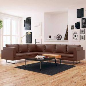 CANAPÉ - SOFA - DIVAN Canapé d'angle 7 places en cuir synthétique marron