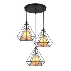 LUSTRE ET SUSPENSION Noir Lustre Suspension - Cage Forme Diamant Ajusta