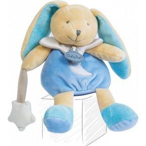 DOUDOU Babynat baby nat Pantin Lapin luminescent bleu et