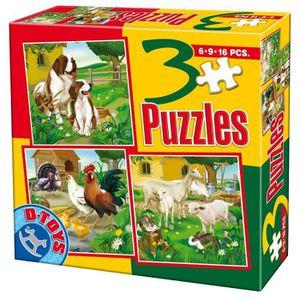 PUZZLE Puzzles de 6 à 16 pièces : 3 puzzles animaux de...