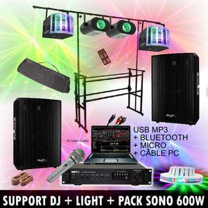PACK SONO 5 JEUX DE LUMIERE + SUPPORT DJ + AMPLI + ENCEINTE