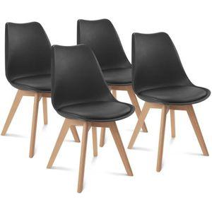 CHAISE Chaises X4 style scandinave noires pour salle à ma