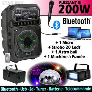 PACK SONO ENCEINTE PORTABLE 200W AVEC USB, BLUETOOTH FM + MA
