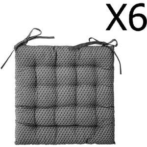 COUSSIN DE CHAISE  Lot de 6 Galettes de chaise gris à motifs - 38 x 3