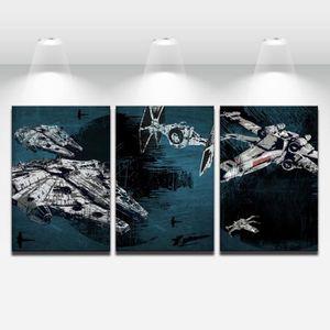 TABLEAU - TOILE 3Pcs Star Wars - Battleship Millennium Falcon Tabl